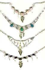 colliers péruviennes en pierres et alpaca (crysocolle quartz onyx)